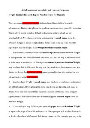 Wright Brothers Research Paper: Possible Topics for Students