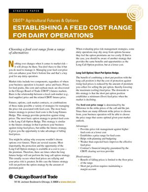 Establishing A Feed Cost Range For Dairy Operations