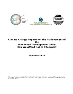 Global Warming Impacts on the Achievement of the Millennium Development Goals