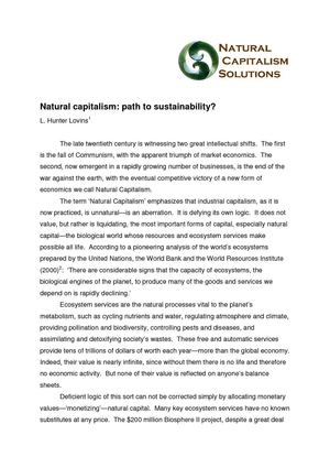Natural capitalism - Path to Sustainability