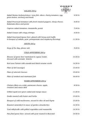 Maison Godet - Our Menu in English