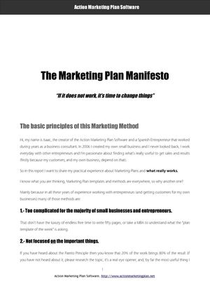 The Marketing Plan Manifesto