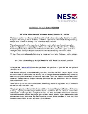 Testimonials for NES Early Years Resources - Treasure Basket