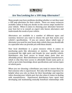 Calaméo - Are You Looking for a 100 Amp Alternator?