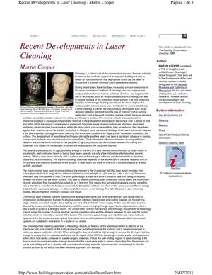 Cooper, M. Recent developments in laser cleaning. 1997