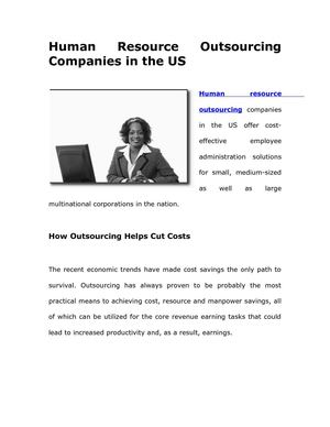 Human Resource Outsourcing Companies in the US