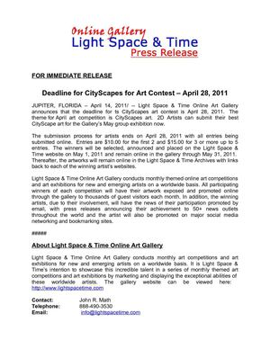 Deadline for CityScapes for Art Contest – April 28, 2011