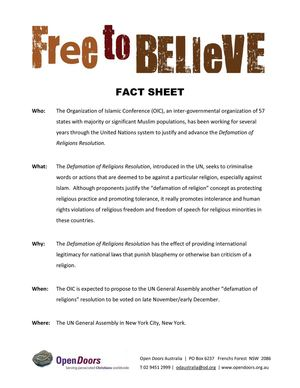 Free to Believe Fact Sheet, Open Door