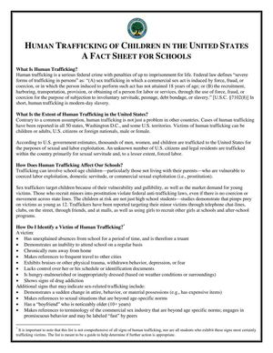 Human Trafficking of Children in the US a Factsheet for Schools