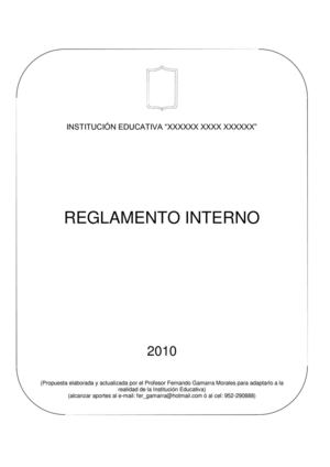 Reglamento Interno de Institución Educativa