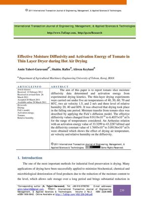 Effective Moisture Diffusivity and Activation Energy of Tomato in Thin Layer Dryer during Hot Air Drying