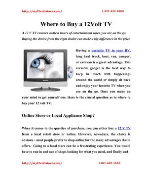 Where to Buy 12 Volt TV