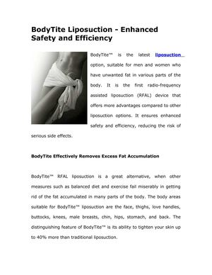 BodyTite Liposuction - Enhanced Safety and Efficiency