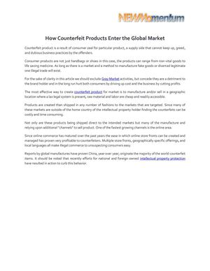 How Counterfeit Products Enter the Global Market