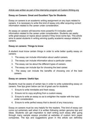 Blade Runner Essay Essay On Careers Great And Excellent Tips For Students Law Essays also Essay On Emotions Calamo  Essay On Careers Great And Excellent Tips For Students Writing A Good Narrative Essay