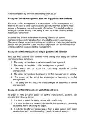 Custom Essay Paper  Persuasive Essay Topics High School also Sample Of English Essay Calamo  Essay On Conflict Management Tips And Suggestions  Essays Topics For High School Students