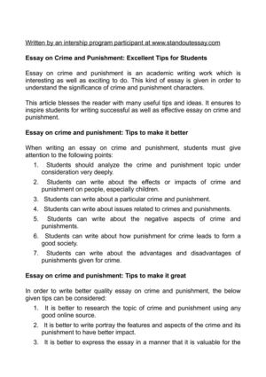 Exemplification Essay Thesis Essay On Crime And Punishment Excellent Tips For Students Last Year Of High School Essay also Research Essay Topics For High School Students Calamo  Essay On Crime And Punishment Excellent Tips For Students Proposal Essay Format