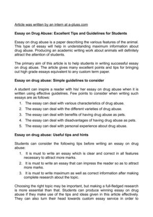 Calamo  Essay On Drug Abuse Excellent Tips And Guidelines For  Essay On Drug Abuse Excellent Tips And Guidelines For Students