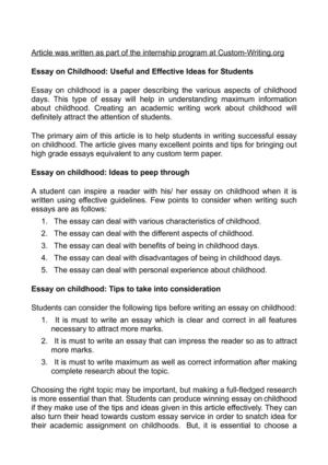 Calamo  Essay On Childhood Useful And Effective Ideas For Students Essay On Childhood Useful And Effective Ideas For Students Thesis In A Essay also I Need Help Making A Business Plan  Example Of A Proposal Essay