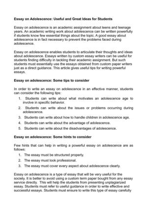Essay on Adolescence: Useful and Great Ideas for Students