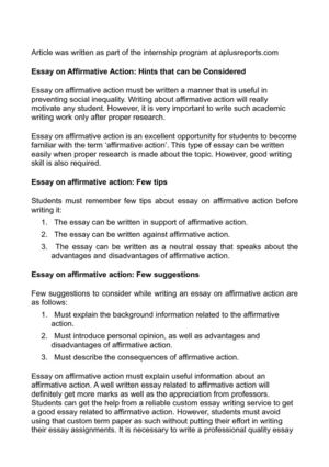 Essay on Affirmative Action: Hints that can be Considered