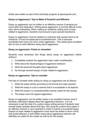 Essay on Aggression: Tips to Make It Powerful and Effective