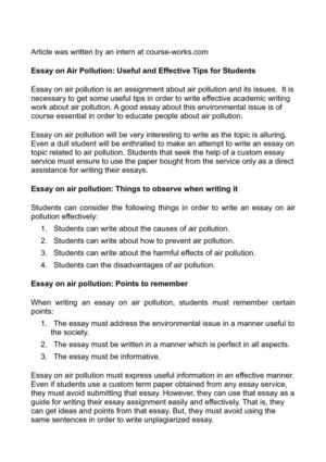 Introduction For An Argumentative Essay Essay On Air Pollution Useful And Effective Tips For Students Literacy Essays also Usf Application Essay Calamo  Essay On Air Pollution Useful And Effective Tips For Students Format Of A Persuasive Essay