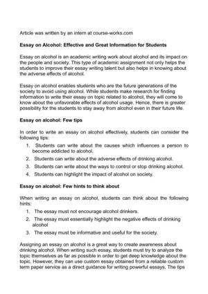 Essay on alcohol effects pay to get popular article