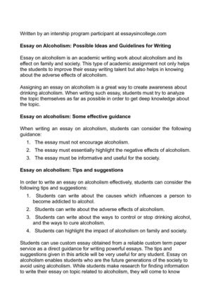 Calam O Essay On Alcoholism Possible Ideas And Guidelines For Writing