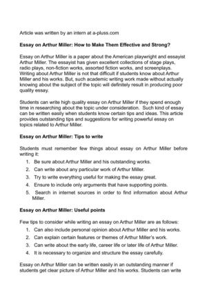 Sample Descriptive Essay Essay On Arthur Miller How To Make Them Effective And Strong My Favourite Holiday Essay also Srinivasa Ramanujan Essay Calamo  Essay On Arthur Miller How To Make Them Effective And Strong African American History Essay
