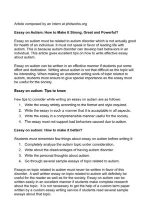 Calamo  Essay On Autism How To Make It Strong Great And Powerful Essay On Autism How To Make It Strong Great And Powerful