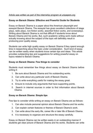 Obama Essay Personal Essay On Barack Obama Presidency  Obama Essay Being The President And The First Africanamerican President  He Has A Great Opportunity To Be A Role Model For The Younger Generation