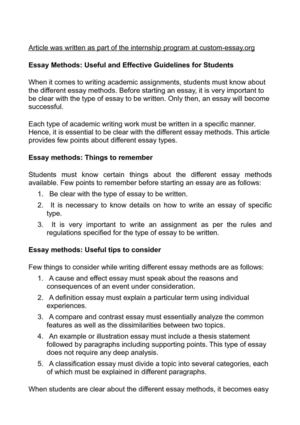 Essay Methods: Useful and Effective Guidelines for Students