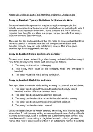 Calamo  Essay On Baseball Tips And Guidelines For Students To Write Essay On Baseball Tips And Guidelines For Students To Write Proposal Essay Topics also Pmr English Essay Classification Essay Thesis