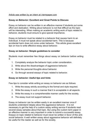 Essay on Behavior: Excellent and Great Points to Discuss