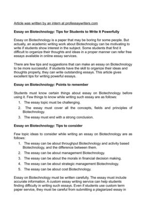 Essay on Biotechnology: Tips for Students to Write It Powerfully