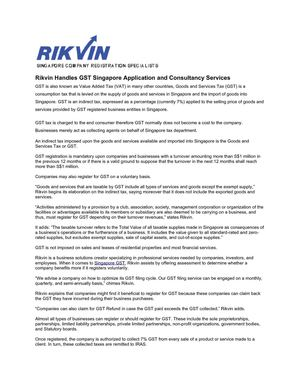 Rikvin Handles GST Singapore Application and Consultancy Services