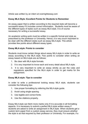 Essay MLA Style: Excellent Points for Students to Remember