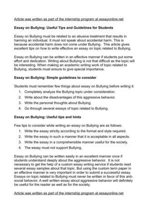 Essay on Bullying: Useful Tips and Guidelines for Students