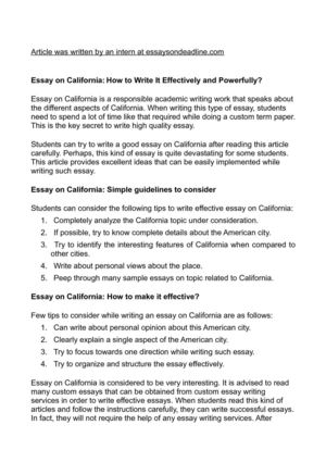 Essay on California: How to Write It Effectively and Powerfully?