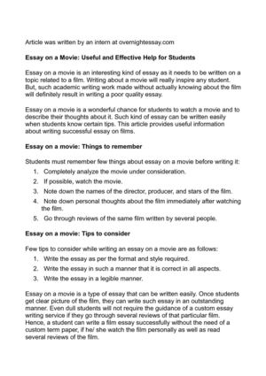 Essay on a Movie: Useful and Effective Help for Students