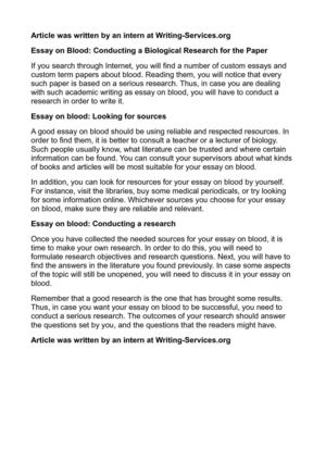 Essay on Blood: Conducting a Biological Research for the Paper