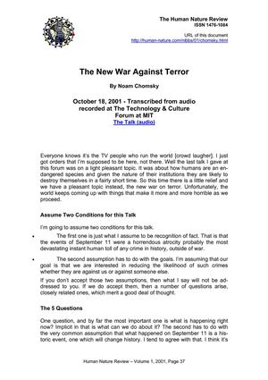 [ebook] The New War Against Terror by Noam Chomsky