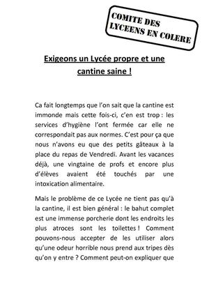 Tract conditions de vies lycéennes.
