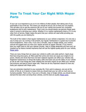 How To Treat Your Car Right With Mopar Parts