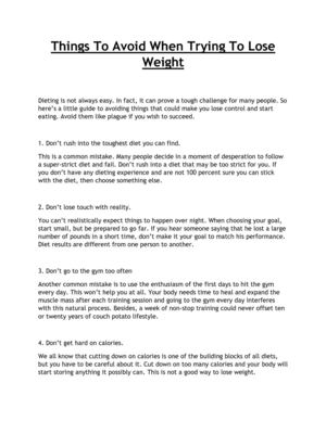 Things To Avoid When Trying To Lose Weight