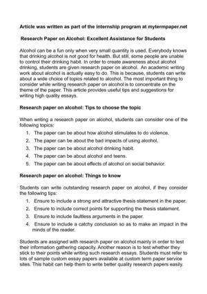Research Paper on Alcohol: Excellent Assistance for Students