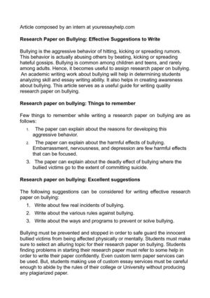 Research Paper on Bullying: Effective Suggestions to Write