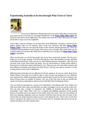 Experiencing Australia at its best through Wine Tours to Yarra