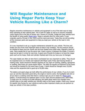 Will Regular Maintenance and Using Mopar Parts Keep Your Vehicle Running Like a Charm